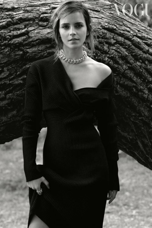 Black and white image of Emma Watson for British Vogue, chain necklace.