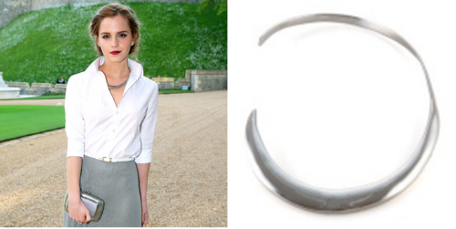 Emma Watson staning in what appears to be a gravel driveway in a grey skirt and a white button up shirt with a silver necklace. The side picture is just the Silver Mirian Necklace by Ana Khouri