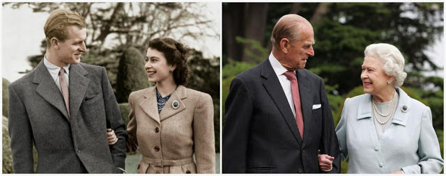 Queen Elizabeth ii and Prince Philip on their honeymoon and the image where they recreated the first picture