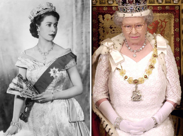 Two photos of Queen Elizabeth in her full regalia, one from the beginning of her reign and one from the last twenty years.