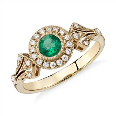 Emerald and Diamond Halo Vintage-Inspired Milgrain Ring in 14k Yellow Gold at Blue Nile.
