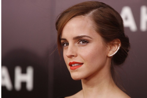 Emma Watson at the Noah Premiere, hair up, red lip, long ear cuff that lines the outside of her ear