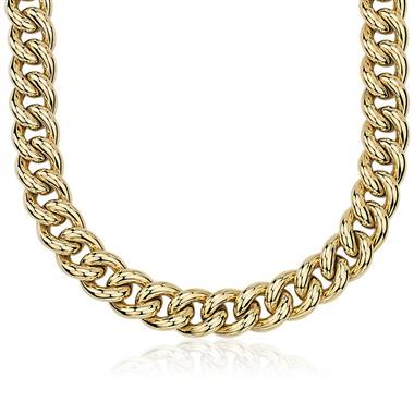 Oversized Hollow Curb Chain Necklace in 14k Italian Yellow Gold