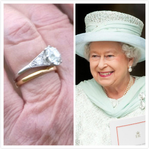 Queen Elizabeth II's finger with her wedding set next to a picture of her smiling.