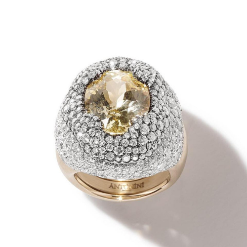 Cocktail ring in satin gold, 4.08 total carat weight worth of diamonds and a 10.85 carat yellow sapphire.