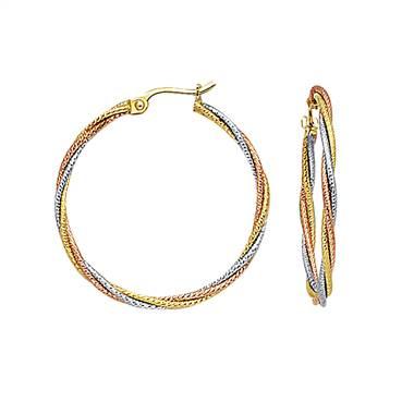 14K Three-Tone Gold Rope Hoop Earrings.