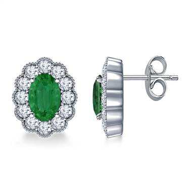 14K White Gold Oval Emerald and Diamond Stud Earrings with Scalloped Halo.