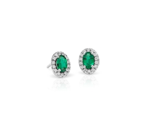 18k gold Emerald and Diamond stud Earrings