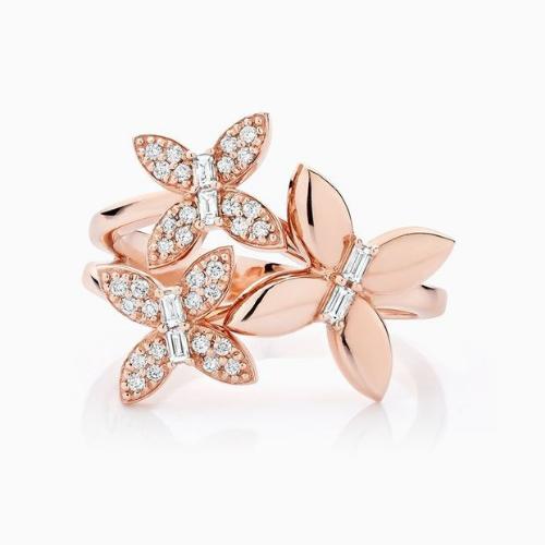 Ecksand Diamond Trio Rose Gold Butterfly Ring.