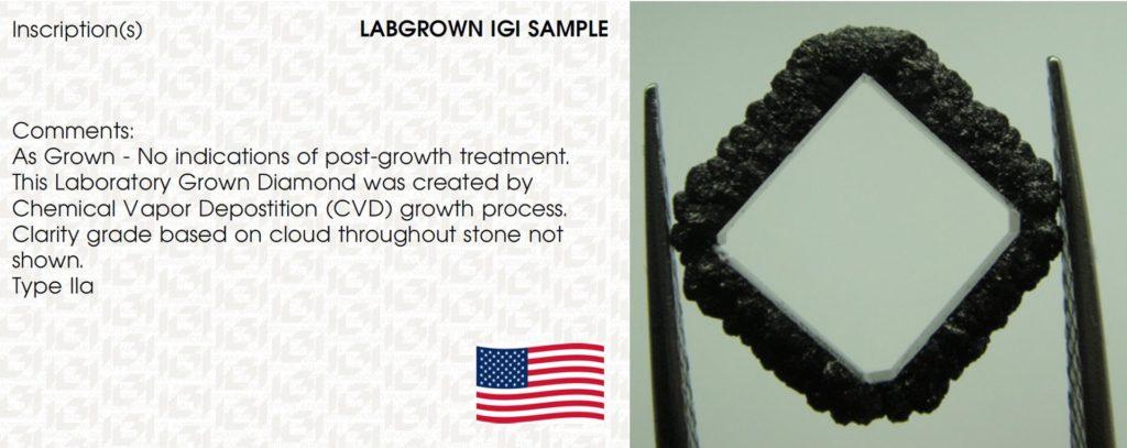 Lab-grown IGI sample