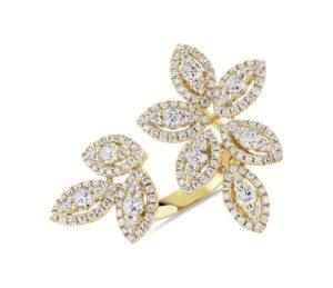 14k gold diamond floral leaf ring