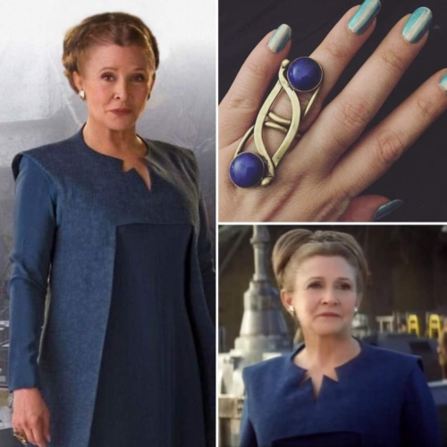 2 pictures of Leia in blue and gold ring with Lapis