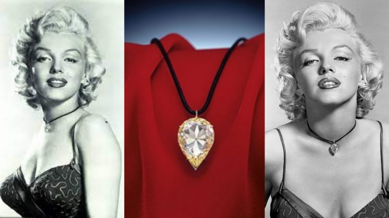 Two greyscale images of Marilyn Monroe wearing the Moon of Baroda on either side of a picture of the necklace on a red draped fabric background.