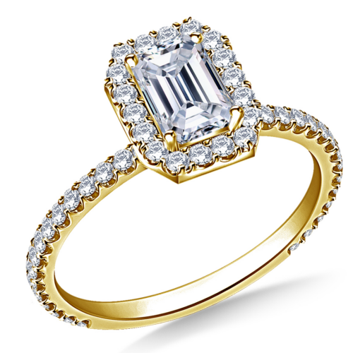 Emerald-Cut Diamond Halo Engagement Ring in 14K Yellow Gold.