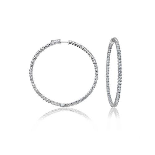 Large Inside Outside Diamond Hoop Earrings In 14K White Gold.