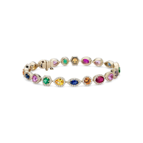 Multicolor Gemstone and Diamond Bracelet in 18k Yellow Gold.