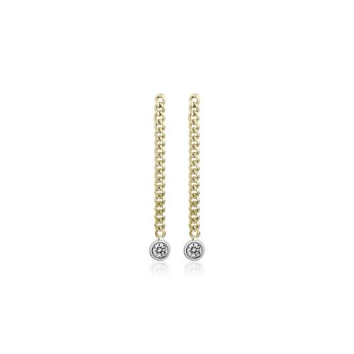 Diamond Curb Link Drop Earrings in 14k Yellow Gold.