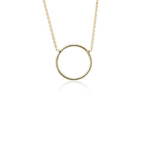 Delicate Circle Necklace in 14k Yellow Gold.