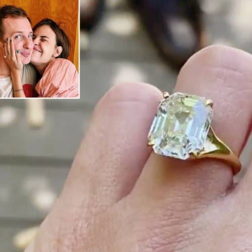 The emerald-cut dazzler on Tallulah's finger with a picture of the couple snuggling inset in the upper left corner.