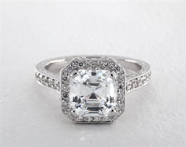 Asscher-Halo Milgrain Pave Engagement Ring in 14K White Gold from James Allen