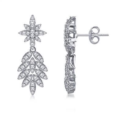 Dangling Leaf Drop Diamond Earrings in 14K White Gold.