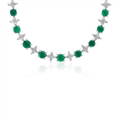 Emerald and Diamond Graduated Eternity Necklace in 18k White Gold.