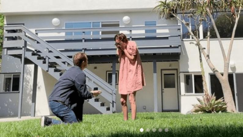 Dillon Buss proposing to Tallulah Willis.