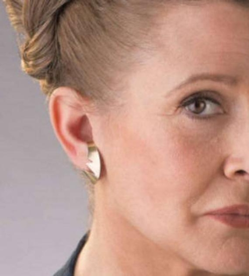 half of Princess Leia's face with gold earrings