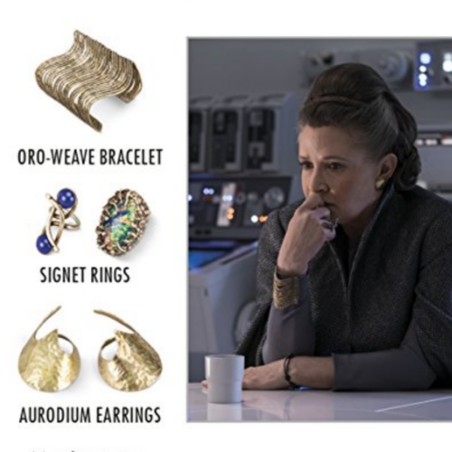 on the left there are images of the oro-weave bracelet, 2 signet rings, and the gold earrings, on the right General Leia Organa looking contemplative