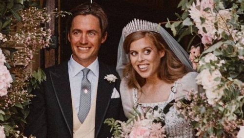Princess Beatrice and Edoardo Mapelli Mozzi's wedding. Princess Beatrice is wearing The Queen Mary Fringe Tiara