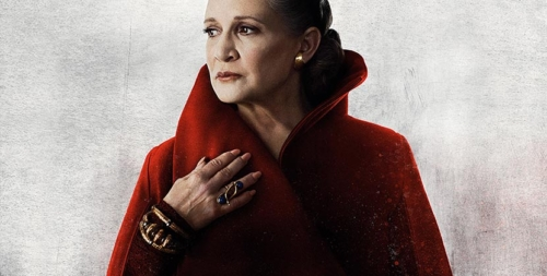 General Leia in red with her gold jewelry featured