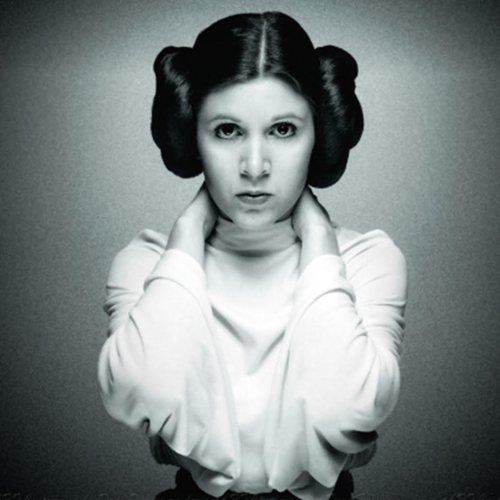 Black and white of Princess Leia with her hands behind her head