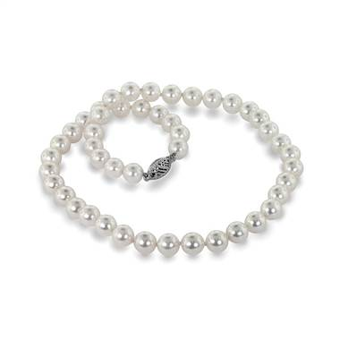 14K White Gold Freshwater Cultured Pearl Strand