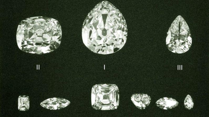 Nine polished diamonds