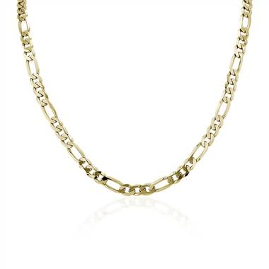 A 22 inch Men's Flat Figaro Chain Necklace in 14K Yellow Gold.