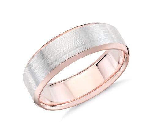 Brushed Beveled Edge Wedding Ring in 14k White and Rose Gold