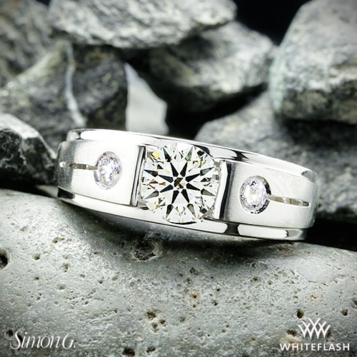 <center>14k White Gold Men's Ring with Center Diamond and 2 Accent Diamonds from Whiteflash</center>