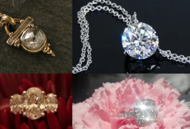 Upper left: gold pendant that is in art deco structure with rose-cut diamond, on chain, sitting on a dark background, upper right: a round brilliant diamond pendant on e a double chain against a black background, bottom left: oval three-stone ring on red flower petals, lower right: Cushion modified brilliant engagement ring sitting on a pink carnation, a large splash of light coming off of it. June 2021's Throwbacks