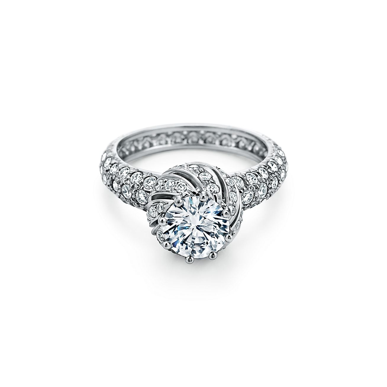Buds Round Brilliant Engagement Ring with a Diamond Platinum Band.
