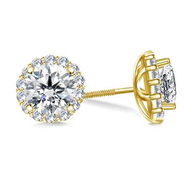 Halo Round Diamond Stud Earring in 14K Yellow Gold.
