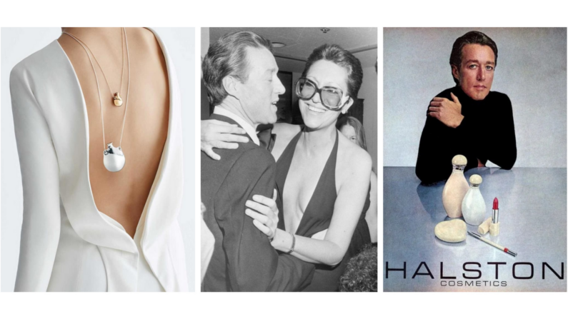A bare light skinned back with a reversed jacket, two bottle style necklaces hang on her back, center is a black and white picture of Halson and Elsa Peretti embracing, far right is a PR image of Halston and his perfume bottles that is branded with his name