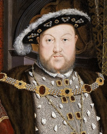 A painting of Henry the eighth, heavy set man in full regalia including pearls inlaid, black hat with white detailing.
