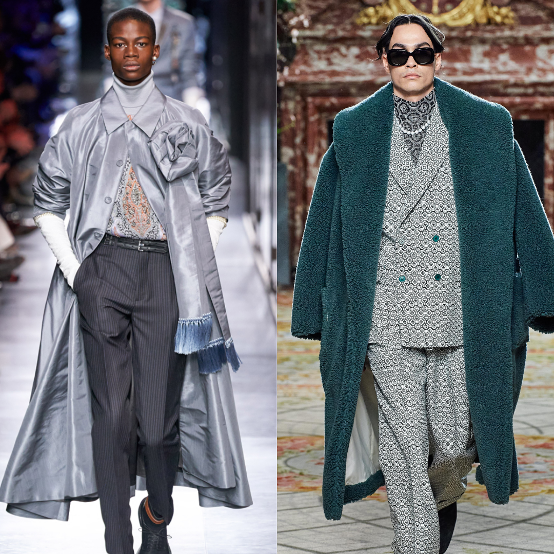 Silver cepedy flowing jacked with tailored grey pants, Dior runway Paris Fashion week, the young African American model is wearing a pearl stud earring. Casablanca runway show at Paris Fashion Week,grey suit, sunglasses, a long forest green duster with a pearl necklace