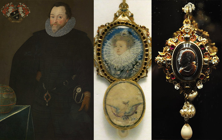 Painting of Sir Francis Drake, the miniature painting of Queen Elizabeth inside The Drake Jewel locket, The Drake Jewel: Jewelel double cameo locket with suspended pearl cluster and teardrop pearl.
