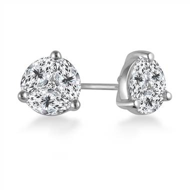 Prong Set Marquise And Round Diamond Stud Earrings in 18K White Gold.