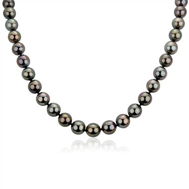 Tahitian Cultured Pearl Strand Necklace in 18k White Gold