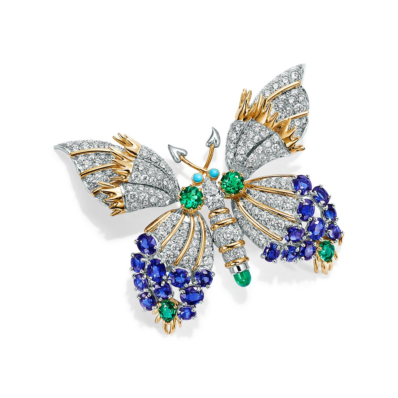 Butterfly Clip Brooch made of round and oval sapphires; round brilliant diamonds; round and pear-shaped emeralds; pear-shaped diamond; round turquoise cabochons.