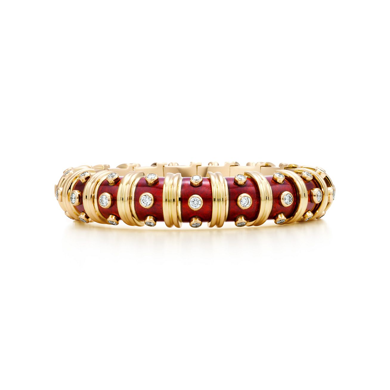 Narrow Bracelet in 18k gold with red enamel and round brilliant diamonds.
