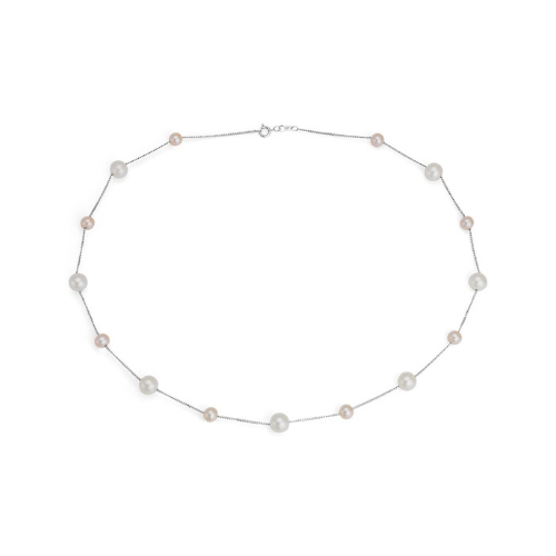 Pink and White Freshwater Cultured Pearl Stationed Necklace in 14k White Gold.