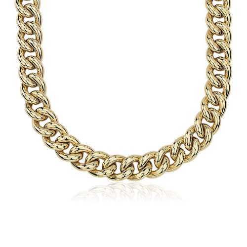 Oversized Hollow Curb Chain Necklace in 14k Italian Yellow Gold.